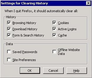 FireFox history options